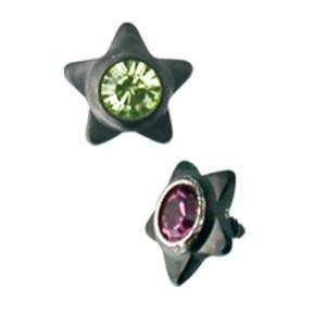 Dermal Anchor Aufsatz Stern 1.2mm mit Kristall PVD beschichtet