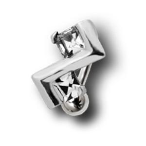 Bauchnabel Piercing mit Art-Deko-Design und 2 quadratischen Kristallen, klein und diskret