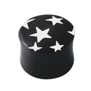 Ohrlochdehner Plug mit weißen Sternen
