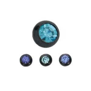 Schraubkugel Schwarz mit Kristall Stein