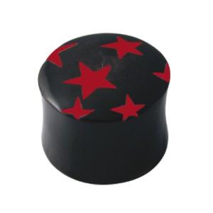Ohrlochdehner Plug mit roten Sternen, Größen wählbar