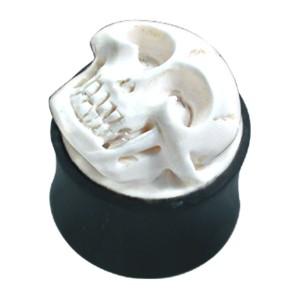 Organix Plug mit Schnitzerei, weißer Totenschädel