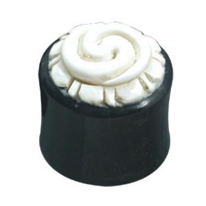 Organix Plug mit Schnitzerei, weiße Spirale