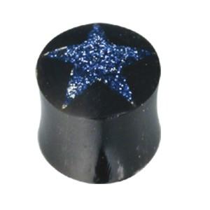 Organix Plug mit einer sternförmigen Einlage aus Opalstaub, verschiedene Farben und Größen