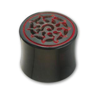 Organix Ohrtunnel aus Horn, Motiv Spirale mit roten Akzenten, in verschiedenen Durchmessern