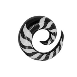 Organix Ohrdehner Spirale aus Wasserbüffelhorn in schwarz-weiß