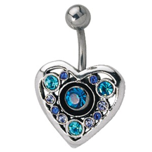 Schild für Bauchnabel Piercing 925 Sterling Silber Herz mit Swarovski Steinen besetzt, wahrlich prunkvoll