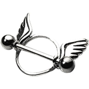 Brustwarzenpiercing mit zwei Flügeln