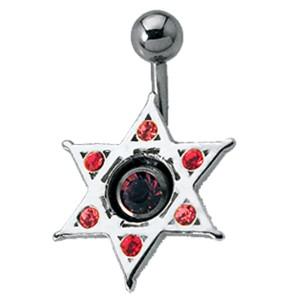 Schild für Bauchnabel Piercing 925 Sterling Silber Stern mit Swarovski Steinen besetzt, Davidstern