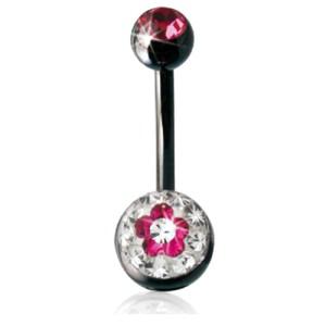 Crystallines Bauchnabel Körperschmuck Piercing, BLÜMCHEN mit juwellierter Schraub-Kugel
