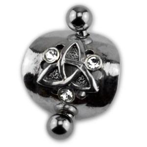 Piercing gebogen Bauchnabel Chirurgenstahl Stab - mystisches Schild 925 Sterling Silber
