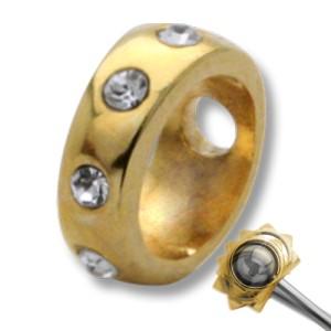 Rahmen für Piercingkugel - mit Kristallen besetzt