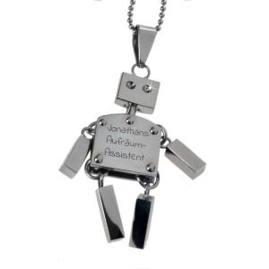 Anhänger Roboter Hampelmann aus Edelstahl mit individueller Gravur