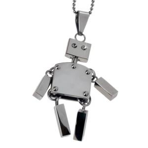 Anhänger: Roboter Hampelmann, aus Edelstahl