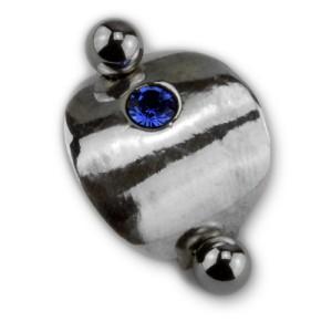 Piercing gebogen Bauchnabel Chirurgenstahl Stab - Schild 925 Sterling Silber