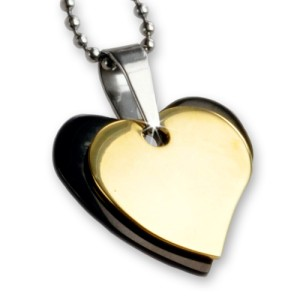 Doppel Anhänger - Herzen schwarz-gold