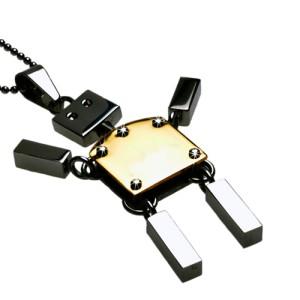 Anhänger Roboter Hampelmann, Edelstahl beweglich- goldfarben
