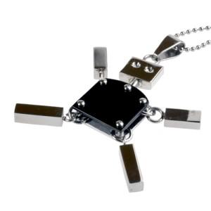 Anhänger Roboter Edelstahl beweglich - schwarz