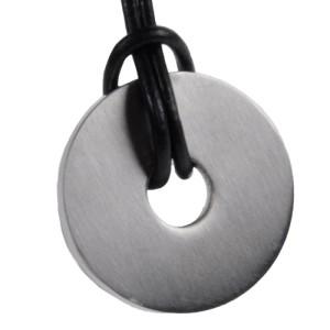 Anhänger Scheibe Edelstahl, Durchmesser 29mm - beidseitig satiniert