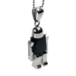 Anhänger Roboter Edelstahl, beweglich - schwarz