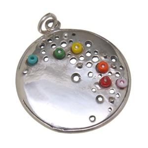 Kettenanhänger 925 Sterling Silber - Kreis mit Perlen