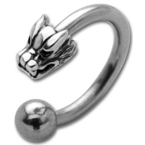 Hufeisen Piercing mit Front-Motiv Chirurgenstahl - Drachenkopf Sterling Silber