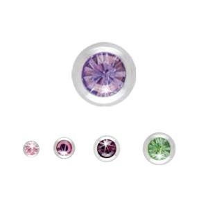Klemmkugel mit Gewinde und Kristallen in vielen Farben