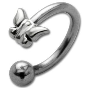 Front Circular Chirurgenstahl - Schmetterling Sterling Silber