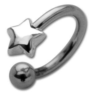 Hufeisen Piercing mit Front-Motiv Chirurgenstahl - Stern Sterling Silber