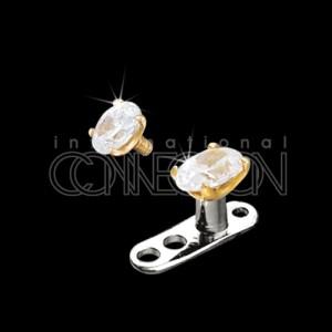 14 Karat Aufsatz Oval für Dermal Anchor, flacher Kristall