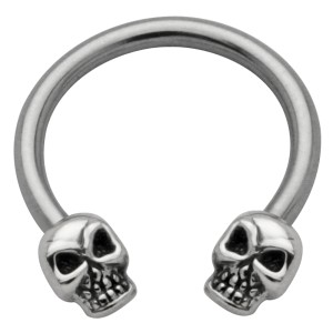 Side Circular Barbell mit Totenkopf Design