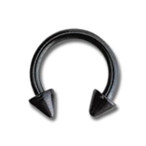 Schwarzer Circular Barbell mit kurzen Spitzen