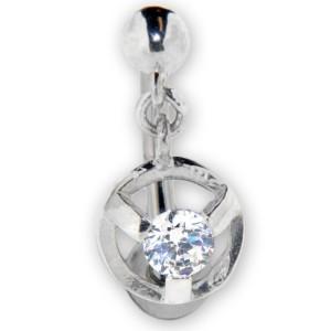 Bauchnabel Piercing mit klarem Kristall, mit Anhang