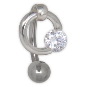 Bauchnabel Piercing mit klarem Kristall, raffiniert eingeklemmt