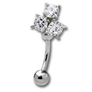 Bauchnabel Piercing mit klarem Kristall, dreimal schick