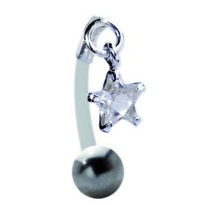 Bauchnabel Piercing mit PTFE-Stab, 1.6x12mm mit klarem Kristall-Stern