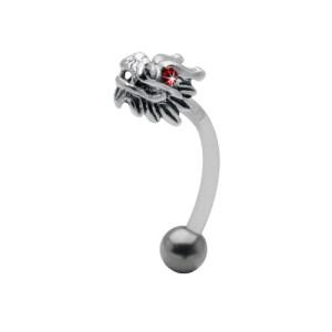 Bauchnabel Piercing mit PTFE-Stab, 1.6x12mm Drache