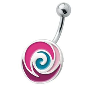 Bauchnabel Piercing mit emailliertem Design, Softeis rot
