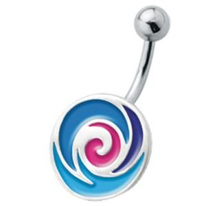 Bauchnabel Piercing mit emailliertem Design, Softeis blau