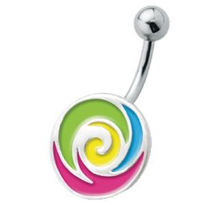 Bauchnabel Piercing mit emailliertem Design, Softeis abartig