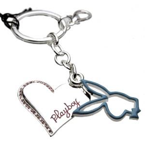 Schlüsselanhänger Playboy, rhodium veredelt - Herz