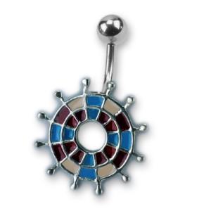 Bauchnabel Piercing mit emailliertem Design, Darts blau