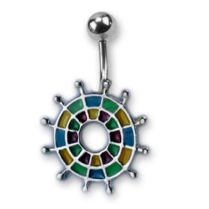 Bauchnabel Piercing mit emailliertem Design, Darts grün