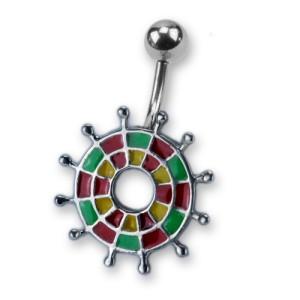 Bauchnabel Piercing mit emailliertem Design, Darts rot