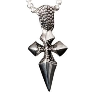 KoolKatana Kettenanhänger Kreuz mit Drachenhaut Optik und Kugelkette