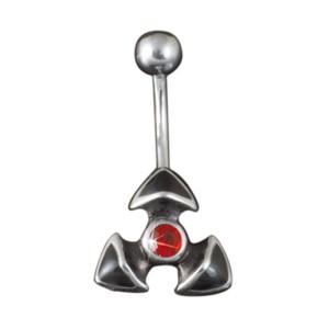 KoolKatana Bauchnabelpiercing 3 Spitzen mit rotem Kristallstein