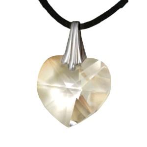 Swarovski-Kristallherz klar mit einer Kordelkette