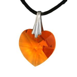 Swarovski-Kristallherz orange mit einer Kordelkette