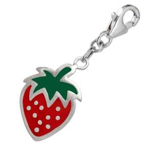 Charm-Anhänger Erdbeere aus 925 Sterling Silber