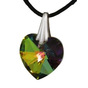Swarovski-Kristallherz reflektierendes grün mit einer Kordelkette